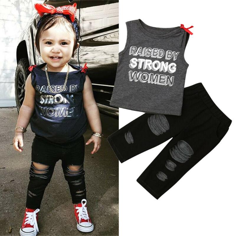 >Kids Girl <font><b>Jeans</b></font> Pants Clothes 2 Piece Set Children's Grey Sleeveless <font><b>T</b></font> <font><b>shirt</b></font> Black Ripped Denim Leggings 2Pcs <font><b>Outfits</b></font>