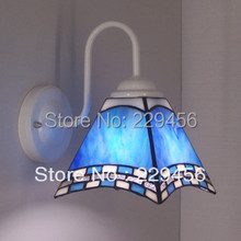 Tiffany Lighting Multicolour Glass Mirror Light Bedside Wall Lamps for Home E27 White Iron 3 Color Models 110-240V