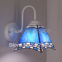 Tiffany Stained Glass Square Wall Lamp Mediterranean Sea Bedroom Mirror Bathroom Cabinet Wall Sconce E27 110 240V