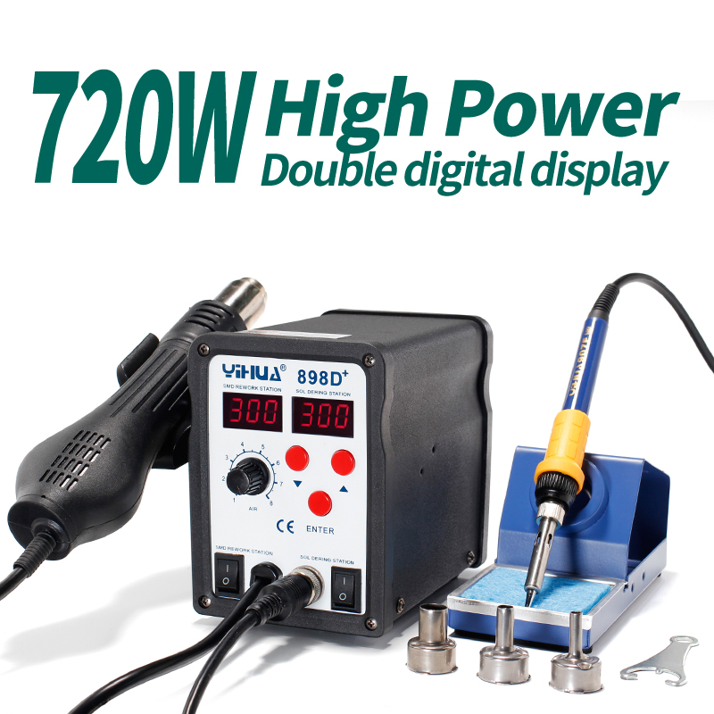 Cell Repair Tool YIHUA898D+ Soldering Station Hot Air With Iron Alloy Soldering Iron Stand Holder For Motherboard Welder  dhl yihua 995d soldering station used for motherboard repair tools 1pc