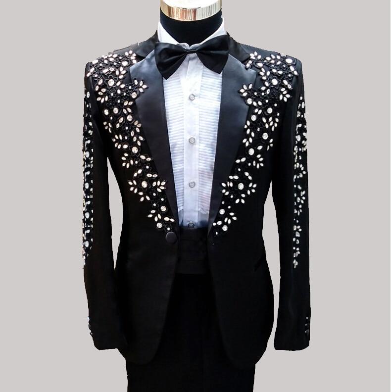 2017 Latest Coat Pant Designs Black Rhinestone Pattern Men Suit Performance Slim Fit 2 Piece Prom Tuxedo Tailor Blazer Masculino