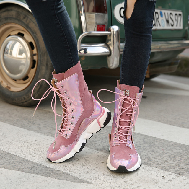 Suede leather wedge sneaker boots