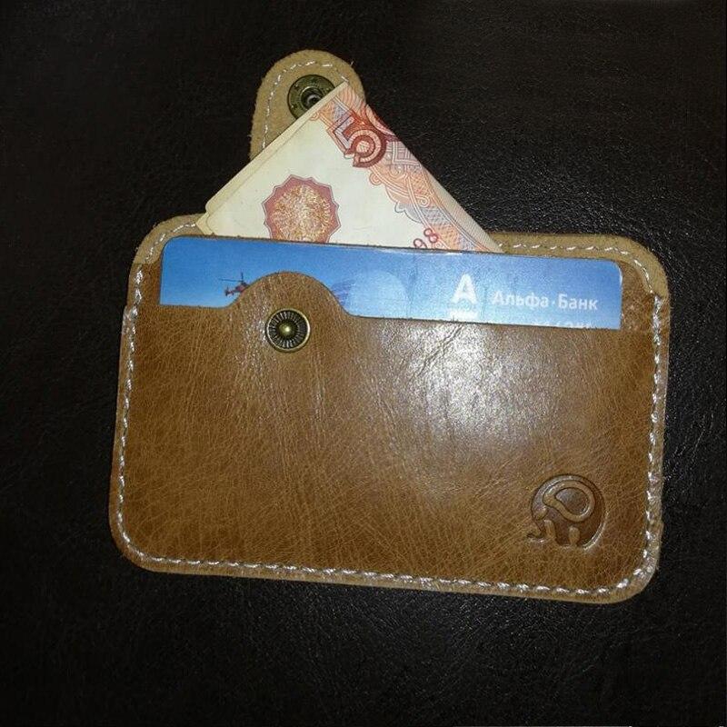 Äkta Läder Card Holder Porte Carte Men Card Id Holders Bankkortet - Plånböcker - Foto 3