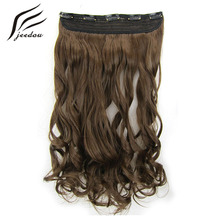 jeedou Wavy Synthetic Hair Clip in Hair Extensions 5Clips 24″ 60cm 120g Black  Blond Color Women's Hairpieces Can Be Straighten