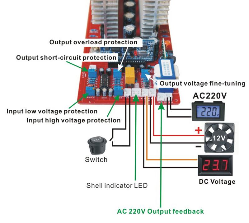 6500 Watt Peak 13000 Watt DC12V/24 V/36 V/48 V/60 V AC 220 V sinus ...