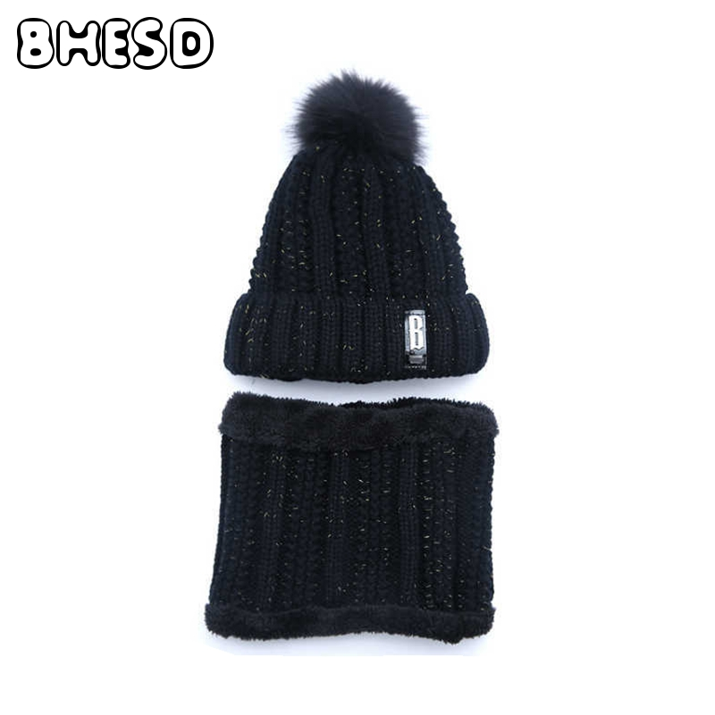 2pcs/lot BHESD 2017 Women Black Beanie Hat Scarf Set Winter Knitted Warm Collar Autumn Neck Warmer Cap Casquette Bones JY-581 zea rtm0911 1 children s panda style super soft autumn winter wear cap scarf set blue