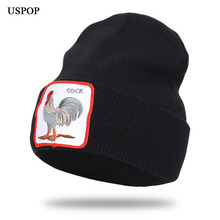 USPOP 2019 autumn hats men animal skullies embroidery knit beanies women cartoon for winter