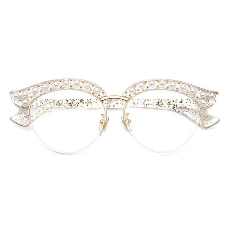 Cubojue Cat Eye Pearl Women Glasses Clear Lens Transparent Fashion ...