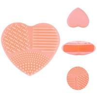 Красочные сердца Форма чистке составляют щетки щетка для мытья силиконовая салфетка скруббер Совет косметические очищающие средства для Кисточки для макияжа