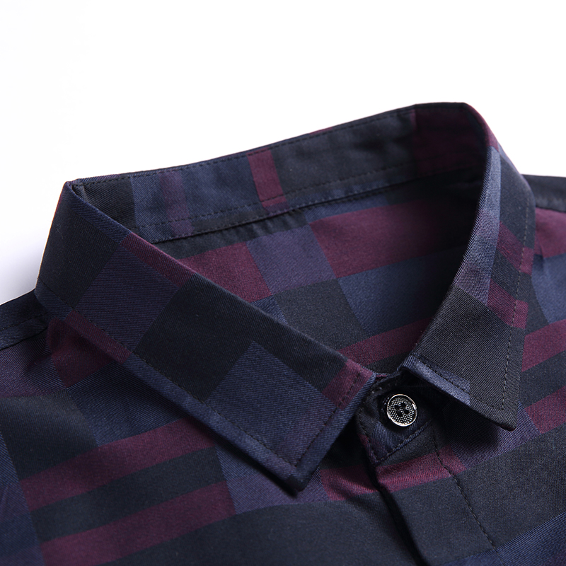 2020 Fashion Brand Shirt For Men Button Up Plaid Korean Slim Fit Streetwear Long Sleeve Dress Shirt Checkered Mens Clothing 4