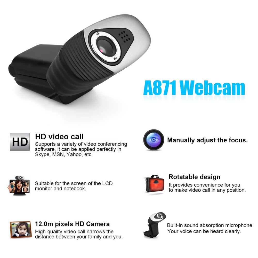 Image 4 - HXSJ USB 2.0 Digital Video Webcamera Webcam Web Camera HD  Pixels With Sound Absorption Mic Microphone For Desktop PC Lap-in Webcams from Computer & Office