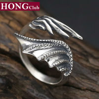 HONGClUB Brand 100 Real 925 Sterling Silver Demon Wings Couple Engagement Adjustable Animal Ring Men Women