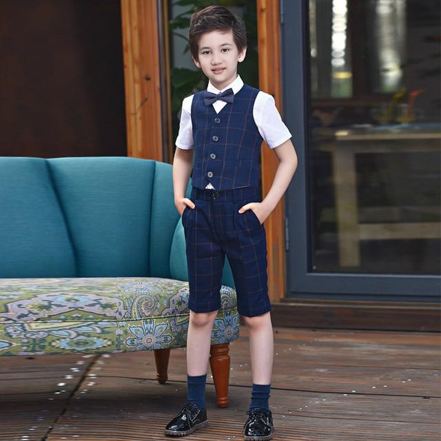 BoysFormal Suit Wedding campus student Dress Gentleman Kids Waistcoat Shirt  Pant Bowtie Short sleeve Set 4Pcs ceremony Costumes 8d869bd3a