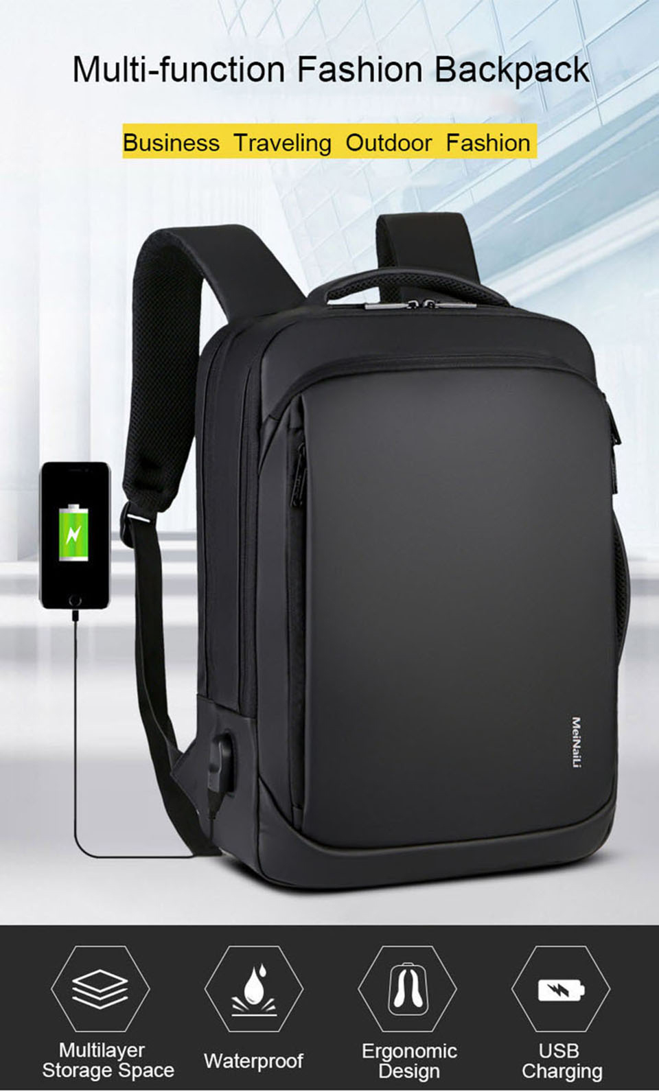 17 Inch Laptop Backpack 15.6 Mens Male Backpacks Business Notebook Mochila Waterproof Back Pack USB Charging Bags Travel Bagpack (1)