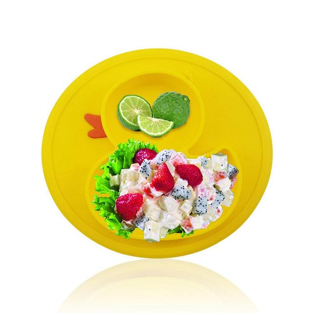 Silicone Material Baby Dining Plate Health Lovely Duck Shaped Lunch Tableware Kitchen Fruit Dishes Children Bowl