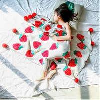 Ins strawberry cotton knitted ball blanket napping small blanket shawl air conditioning blanket aircraft car blanket