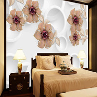 3D Wallpaper TV Wall Mural Photo Wallpaper Modern Wallcoverings Diamond Floral Wall Paper For Living Room