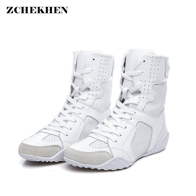Luxury brand Hip-hop dancing cool white Shoes Fashion Boots High Top Trainers genuine leather martin Boots sneakers fall trendboots in europe and america heavy bottomed martin boots british style high top shoes shoes boots sneakers