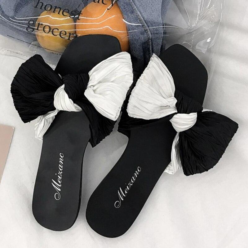 Moxxy 2018 Новый Для женщин тапочки модные летние милые дамы Повседневное слипоны бантом Пляжные сланцы снаружи женские шлепанцы