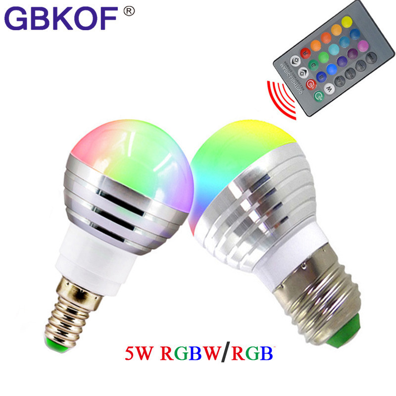 1PCS E14 E27 AC 110V 220V 230V 240V 5W RGBW LED Ball Bulb Color Changeable Night Light For Party Holiday Decoration Lamp