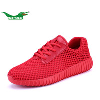 LANTI KAST Men Running Shoes Summer Breathable Air Mesh Lace Up Sport Shoes Men Shock Absorption