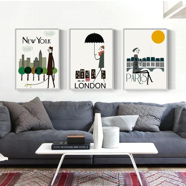 New York Londra Parigi City Life Paesaggio Tela Della Parete Della ...