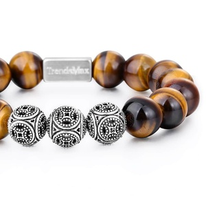 Image 2 - Trendsmax 10MM A Tiger Eye Beaded Bracelets Women Men Natural Stone Stretch 925 Sterling Silver High Quality Jewelry TBB005