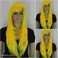 Hot heat resistant Kanekalon Party hair FREE SHIPPING>>women's wig yellow wig