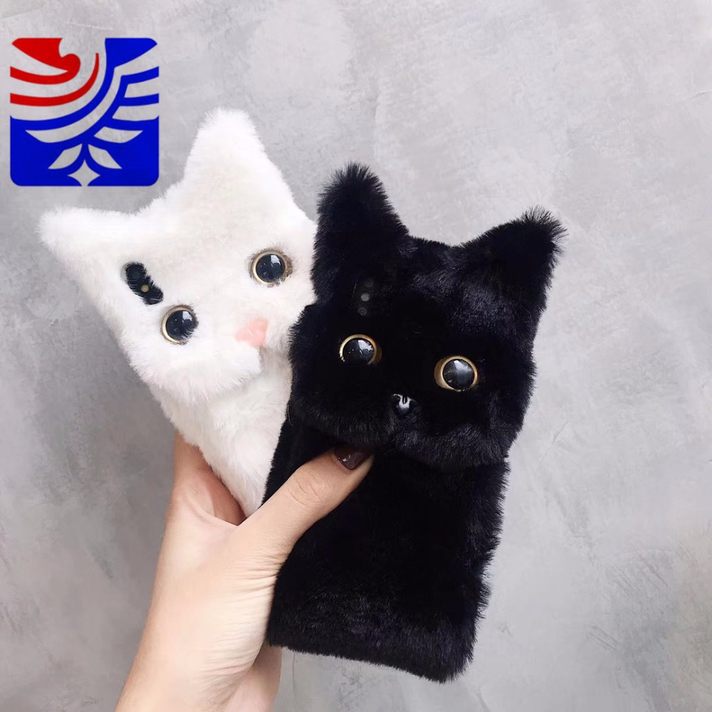 PEIPENG 3D Cute <font><b>Cat</b></font> Hairy Warm Fur <font><b>case</b></font> For <font><b>iPhone</b></font> 7 Plus With Finger Ring Silicone <font><b>Case</b></font> For <font><b>iPhone</b></font> X XS Mas <font><b>8</b></font> 7 6 6s Plus XR image