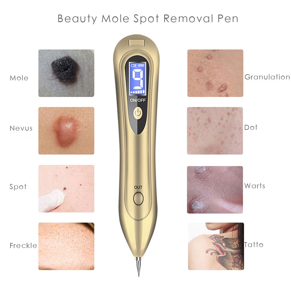 Купить с кэшбэком Plasama Electric Laser Freckle Dot Mole Dark Spot Pen Tattoo Removal Pen Beauty Instrument Skin Care Machine LED Light Acne