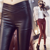 Autumn And Winter Plus Velvet PU Faux Leather Pants Female Basic High Waist Long Trousers