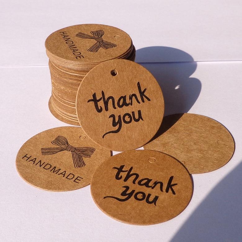 100Pcs Thank You Bowknot Handmade Cake Packaging Sealing Label Kraft Sticker Baking DIY Work Gift Box Round Stickers M1065