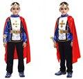 Бесплатная Доставка Розничная 3 Новый Размер Мальчики Хэллоуин Арабские Король Косплей Костюмы Принц Костюм для Детей Полный детский Костюм