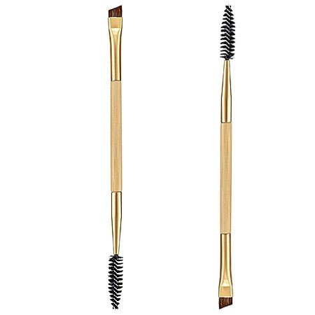 High Quality Makeup tools bamboo handle double Duo Brow Makeup Brush Wood Handle Double Sided Eyebrow Flat Angled Brushes
