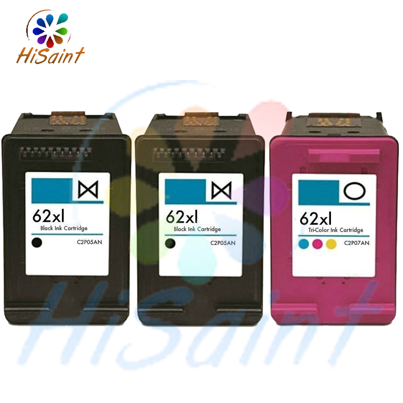 For HP 62XL2BK+1C High-Yield Black Tri-color reman Ink Cartridge with chip suit 5660 5740 5742 Wireles All-In-One Inkjet Printer hp27 black cartridge for hp c8727a reman cartridges print heads free shipping full ink