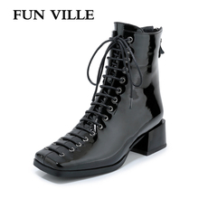 FUN VILLE New Fashion Autumn Winter Women Ankle Boots Square Toe Genuine Patent Leather Boot Sexy Ladies Flats shoes Lace up