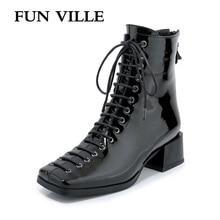 FUN VILLE ใหม่แฟชั่นฤดูใบไม้ร่วงผู้หญิงฤดูหนาวรองเท้าข้อเท้าสแควร์ Toe ของแท้สิทธิบัตรรองเท้าหนังเซ็กซี่สุภาพสตรีรองเท้ารองเท้าลูกไม้ up