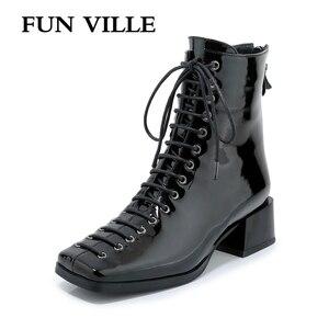 Image 1 - כיף VILLE חדש אופנה סתיו חורף נשים קרסול מגפי כיכר הבוהן אמיתי פטנט עור אתחול סקסי גבירותיי דירות נעלי תחרה עד