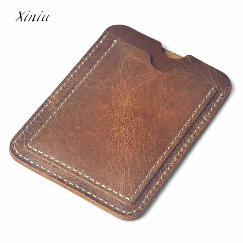 Luxury Brown PU Leather Men Women Unisex Card Holder Slim Credit Card ID Card Holders Case Bag Fashion Business Card Case Bag