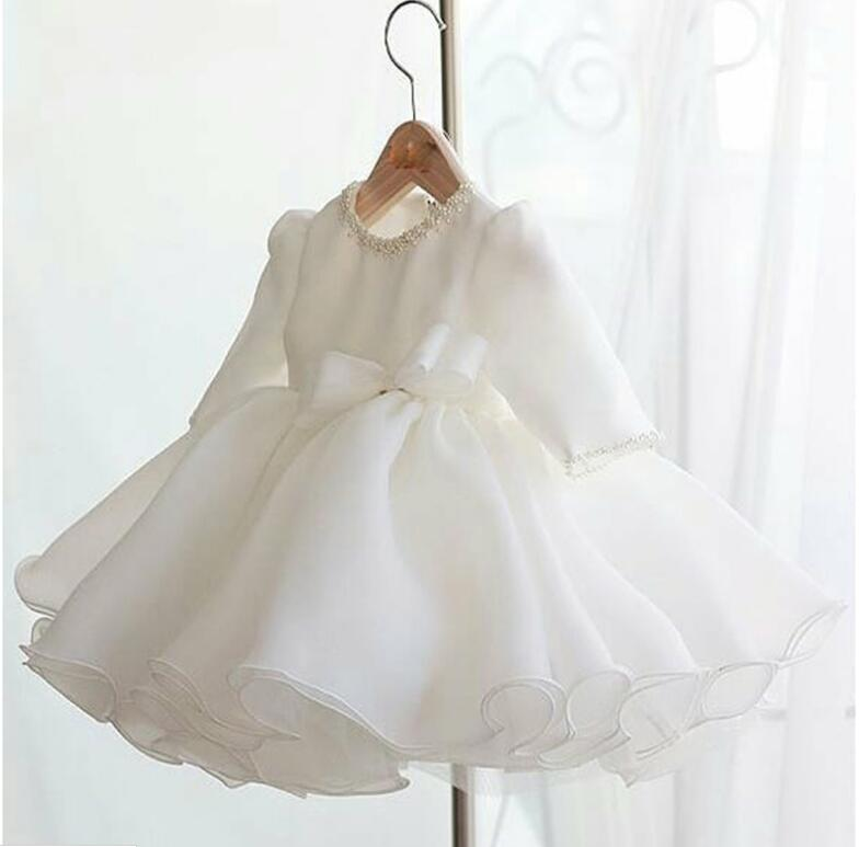 Long Sleeve Baby Girl Dress Baptism Dresses for Girls 1st year birthday party wedding Gown Christening baby infant clothing