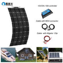 100W Monocrystalline Semi-flexible   Cells Solar Panel Solar Module System Kit + 12v 10A PWM controller Battery Charger Water цена и фото