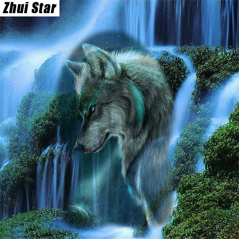 "Full Square Diamond 5D DIY Diamond Painting ""Waterfall Scenic Wolf"" Ասեղնագործություն Cross Stitch Rhinestone Mosaic Painting Gift VIP"