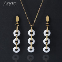 A&N Golden Ceramic Jewelry Set For Women Black&White Necklace & Earrings Cute Noble Delicate Stainless Steel Wedding Jewelry Set