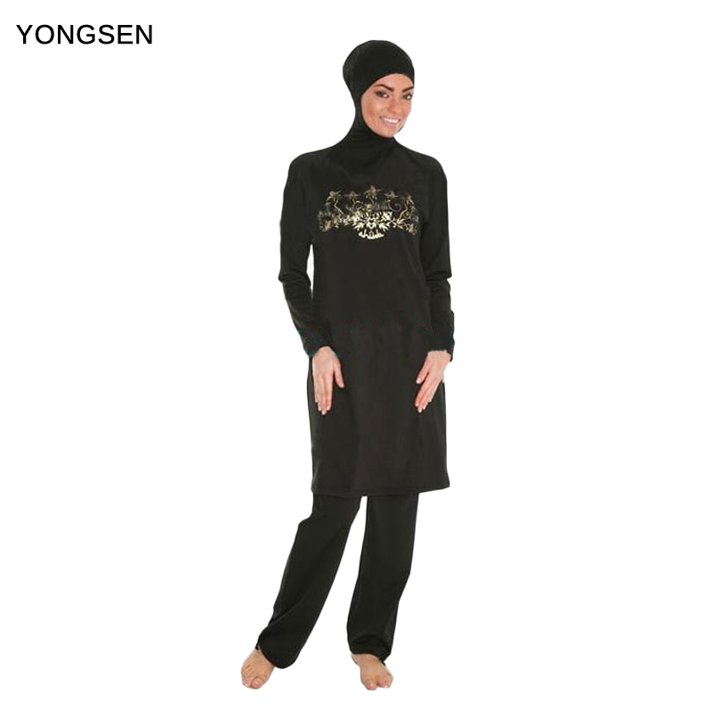 YONGSEN בגדי ים מוסלמית בגדי ים איסלאמי לנשים חג'אב בורקינס כיסוי מלא בגדי ים מוסלמים שחייה חוף הים חליפת שחייה