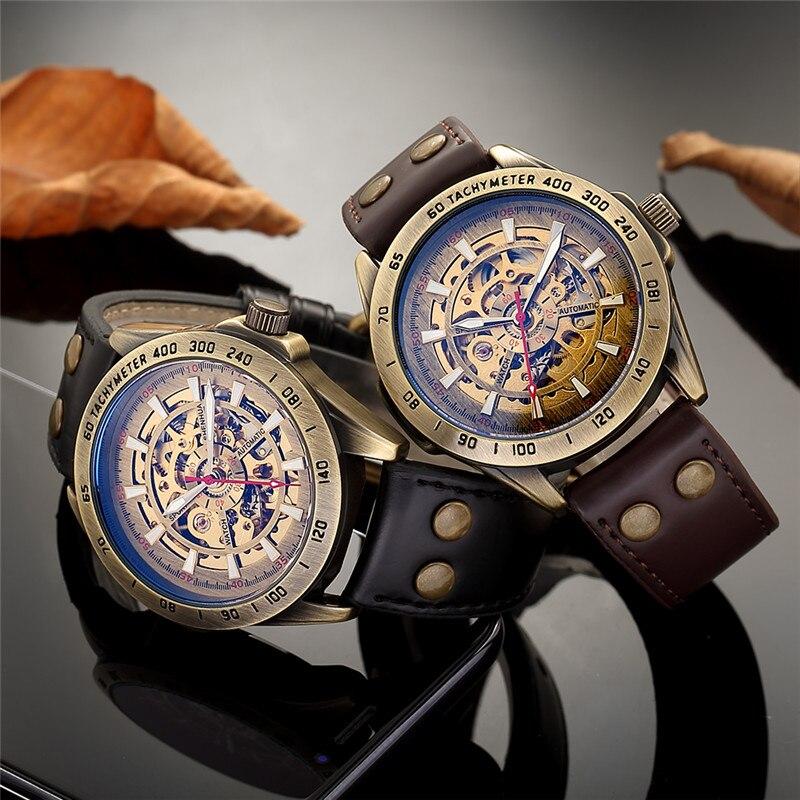 HTB1fHRia4D1gK0jSZFsq6zldVXa0 Men Watch Skeleton Automatic Mechanical Male Clock Top Brand Luxury Retro Bronze Sport Military Wristwatch relogio Masculino