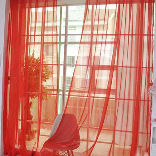 100*200cm Wedding Party Decor Pure Color Valances Door Window Curtain Drape Panel Sheer Home Hotel Bedroom Decoration