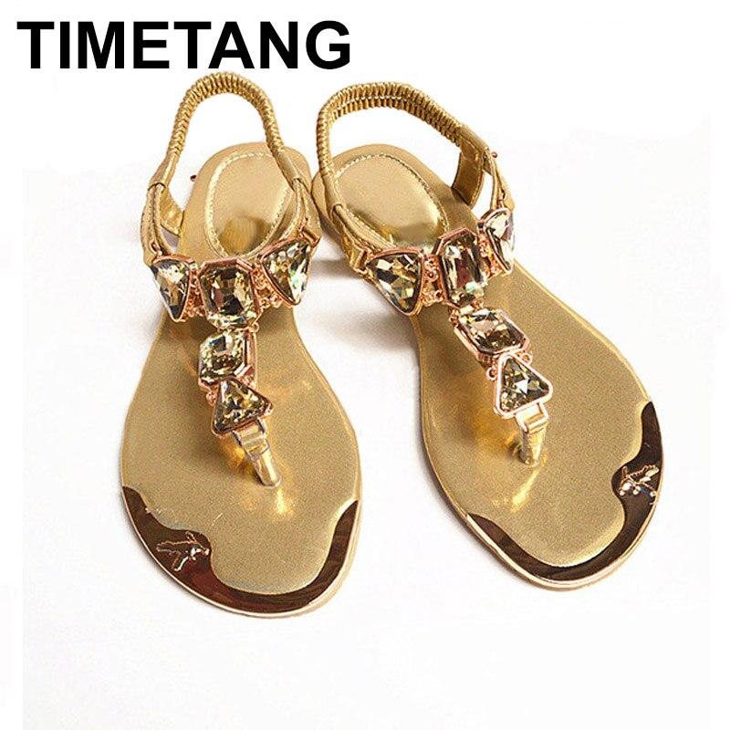 TIMETANG נעלי נשים סנדלי 2018 חמה אופנה ריינסטון קיץ נשים סנדלי נשים נעלי C283