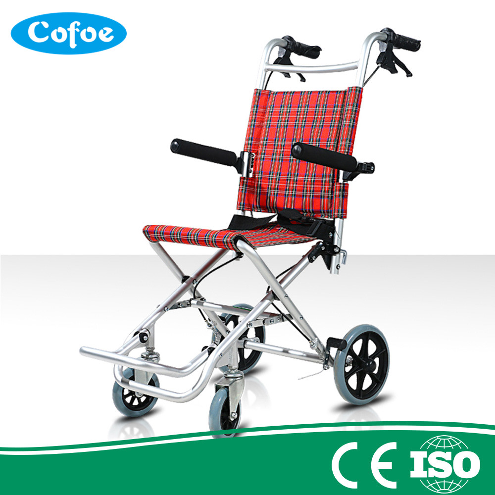 все цены на Cofoe Yizhi Household ultralight wheelchair folding lightweight travel elderly children small portable tiny wheel simple trolley онлайн