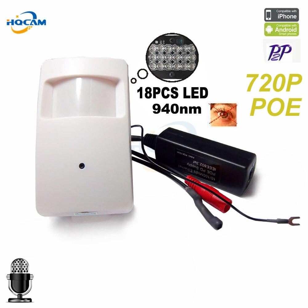 Hqcam HD 720 P POE ip-камера P2P POE 940nm инфракрасный IP-камера ИК POE PIR Стиль детектор движения Onvif ИК Cam ночное видение Камера