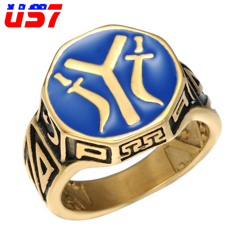 Rings Valily Men Ring Gold Kayi Obasi Flag Ottoman Empire Stainless Steel Ring For Men Hiphop Punk Rings Jewelry Wholesale Anillo